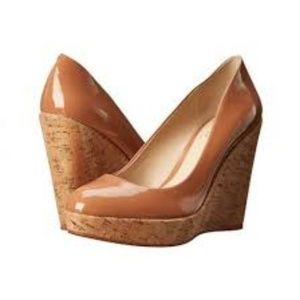 Vince Camuto Faran Patent Leather Cork Wedge